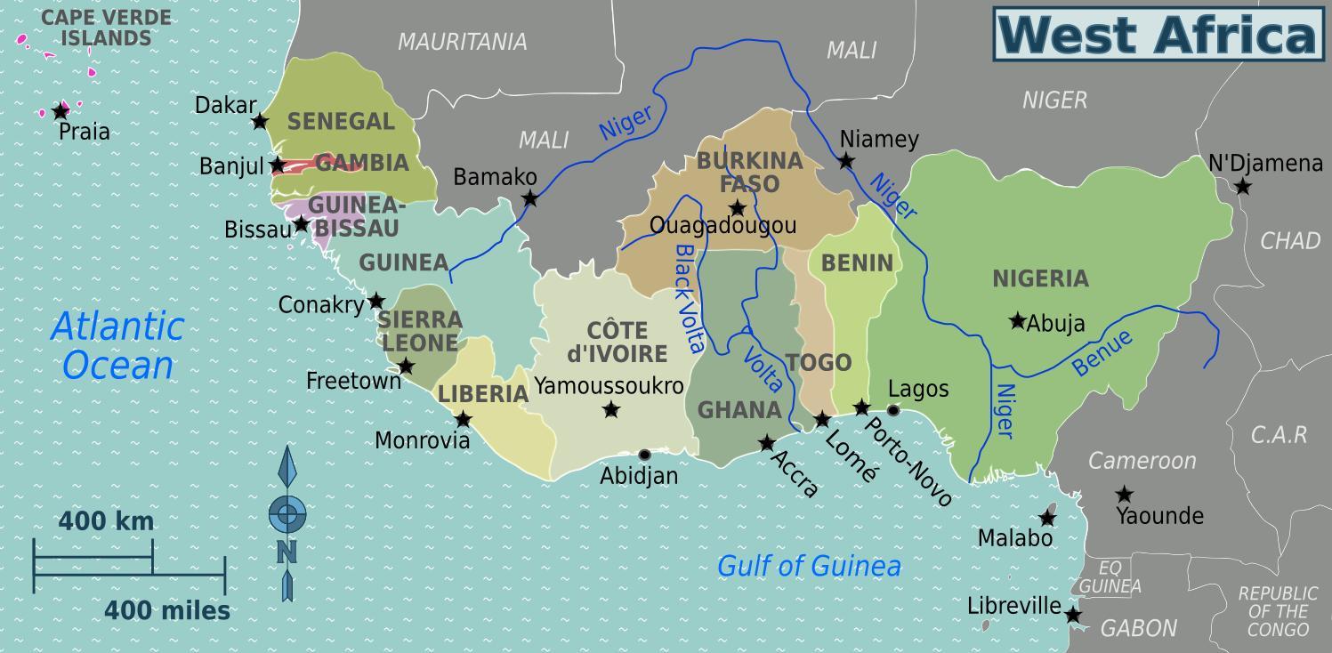 Karta Over Ghana I Vastafrika Karta Av Ghana I Vastafrika