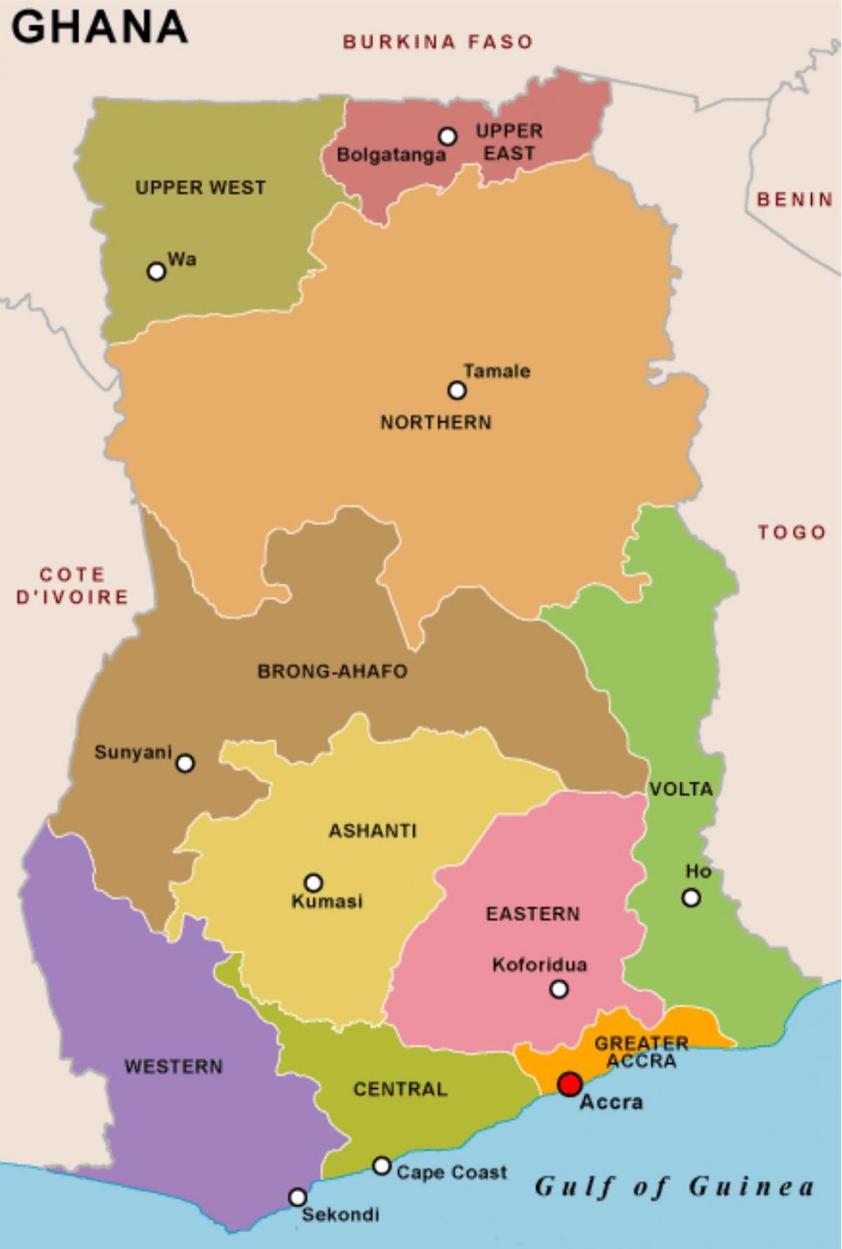 Etniska Karta Over Ghana Karta Av Etniska Ghana I Vastra Afrika